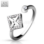 CZ Paved Dia with Cross Center and Round CZ End .925 Sterling Silver Adjustable Toe Ring