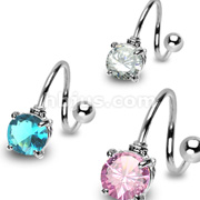 Round 7mm Prong Set CZ with 316L Surgical Steel Twist
