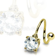 7mm Prong Set Round Gem with 16 Gauge 3/8