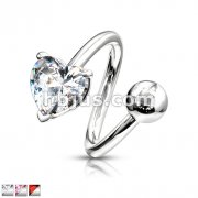7mm Heart Prong Set CZ with 316L Surgical Steel Twist