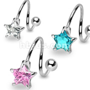 7mm Star CZ Prong Set with 316L Surgical Steel Twist