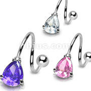 Tear Drop Prong Set CZ with 316L Surgical Steel Twist