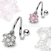 Flower Gem Paved with 316L Surgical Steel Twist