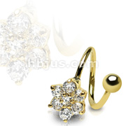 Gold Plated Twist with Gem Paved Flower