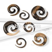 Striped Natural Ebony Wood Spiral Taper