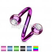 Twists with Press fit Jeweled Balls Titanium IP Over 316L Surgical Stainless Steel