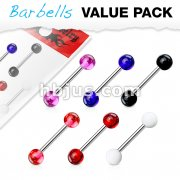 6 Pcs Value Pack of Assorted Color 316L Surgical Steel Barbells with Acrylic Balls