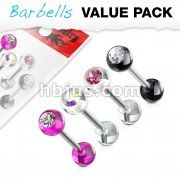 4 Pcs Value Pack of Assorted Color Barbells with Acrylic Gem Ball