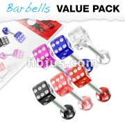 6 Pcs Value Pack of Assorted Color 316L Surgical Steel Barbells with Acrylic Dice