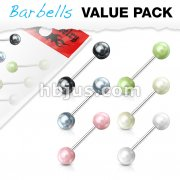6 Pcs Value Pack of Assorted Color 316L Surgical Steel Barbells with Faux Pearl Balls