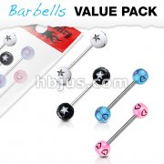 4 Pcs Value Pack of Assorted Color 316L Surgical Steel Barbells with Stars or Hearts Patterned Acrylic Balls