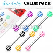 6 Pcs Value Pack of Assorted Color 316L Surgical Steel Barbells with Candy Stripes Acrylic Balls