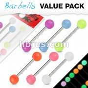 6 Pcs Value Pack of Assorted Color 316L Surgical Steel Barbells with Glow In The Dark Balls