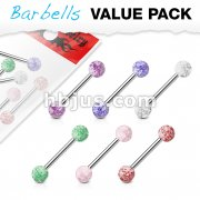 6 Pcs Value Pack of Assorted Color 316L Surgical Steel Barbells with Acrylic Color Ultra Glitter Ball