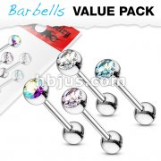 4 Pcs Value Pack of Assorted 316L Surgical Steel Barbell with Gem Ball