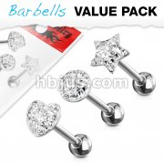 3 Pcs Assorted Shapes 316L Surgical Steel Clear CZ Paved Tongue Ring Pack