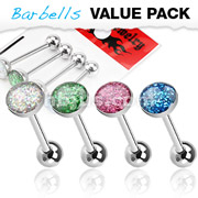4 Pcs Value Pack of Assorted Color 316L Surgical Steel Barbell with Epoxy Glitter Ball