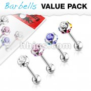 4 Pcs Value Pack of Assorted Color 316L Surgical Steel Barbells with Multi CZs