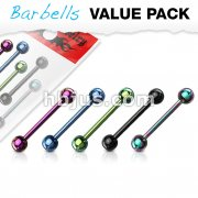 5 Pcs Value Pack of Assorted Color Titanium IP Over 316L Stainless Steel Barbells
