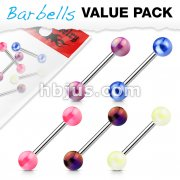 5 Pcs Metalic Coating Balls 316L surgical Steel Barbell Value Pack