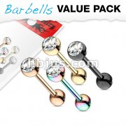 4 Pcs Value Pack Crystal Set Ball Top IP Colored Over 316L Surgical Steel Barbells