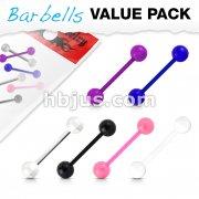 6 Pcs Value Pack Bio Flex Barbells with UV Light Reactive Acrylic Balls