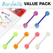 6 Pcs Value Pack Bio Flex Barbells with Glow in the Dark Balls