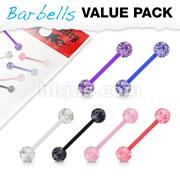 6 Pcs Value Pack Bio Flex Barbells with Super Glitter UV Light Reactive Acrylic Balls