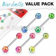 5 Pcs Value Pack Metalic Splatter Coated Acrylic Balls 316L Surgical Steel Barbells