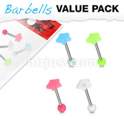4 Pcs Value Pack Glow in the Dark Star Top 316L Surgical Steel Barbells