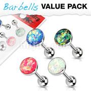 4 Pcs Value Pack Opal Glitter Set 316L Surgical Steel Barbells