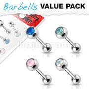 4 Pcs Value Pack Opalite Crystal Set 316L Surgical Steel Barbells