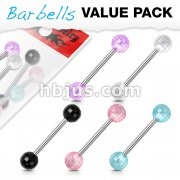 5 Pcs Value Pack Acrylic Disco Ball Barbell 316L Surgical Steel Barbells