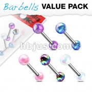 5 Pcs Value Pack Metallic AB Coating Balls 316L Surgical Steel Barbells
