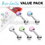 5 Pcs Value Pack Illuminating Stone Set 316L Surgical Steel Barbells