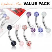 6 Pcs Value Pack Acrylic Color Ultra Glitter Ball 316L Surgical Steel Eyebrow Curve Ring