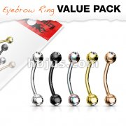 5 Pcs Value Pack Press Fit Gemmed Balls Titanium IP Over 316L Surgical Steel Eyebrow Curve Ring