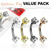 4 Pcs Value Pack Prong Set Clear CZ Internally Threaded 316L Surgical Steel Eyebrow Curve Ring