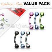 6 Pcs Value Pack Titanium IP Over 316L Surgical Steel Eyebrow Curve Ring
