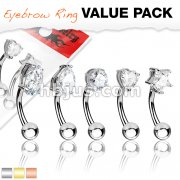 5 Pcs Value Pack Basic Shapes CZ Prong Set Top 316L Surgical Steel Eyebrow Rings/ Curved Barbells