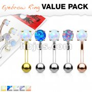 5 Pcs Value Pack Opal Prong Set Top 316L Surgical Steel Eyebrow Rings/ Curved Barbells