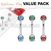 3 Pcs Value Pack Eyeball Inlaid 316L Surgical Steel Curved Barbells, Eyebrow Rings