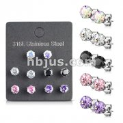 5 Pairs of Mixed Colors Prong Set Round CZ Stainless Steel Stud Earrings Pack