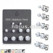5 Pairs of Assorted Sizes Prong Set Round CZ Stainless Steel Stud Earrings Pack