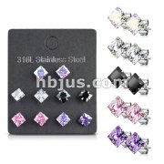5 Pairs of Mixed Colors Prong Set Square CZ Stainless Steel Stud Earrings Pack