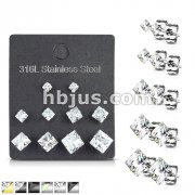 5 Pairs of Assorted Sizes Prong Set Square CZ Stainless Steel Stud Earrings Pack