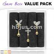 3 Pcs Pre Loaded Assorted 316L Surgical Steel Curved Barbells/ Eyebrow Rings Gem Box Package