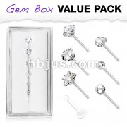 7 Pcs Pre Loaded Essential 316L Surgical Steel Nose Stud Rings Gem Box Package