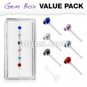 7 Pcs Pre Loaded Prong Set Round Mixed Color CZ 316L Surgical Steel Nose Stud Rings Gem Box Package