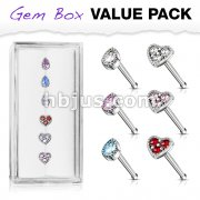 6 Pcs of Tear Drop CZ and CZ Set Heart Top 316L Surgical Steel 20 Gauge Nose Stud Rings Gem Box Package